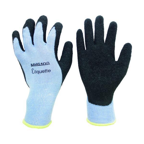ミドリ安全 消臭機能糸使用 作業手袋 ハイグリップ天然ゴム背抜き 厚手 MHG100エチケット LL MHG-100-ETIQUETTE-LL