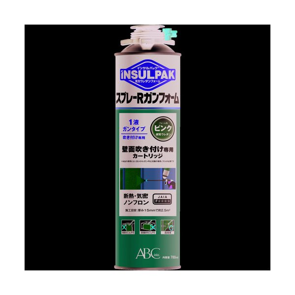 ABC 簡易型発泡ウレタンフォーム 1液ガンタイプ インサルパック スプレーRガンフォーム 780ml フォーム色:ピンク ISRGF