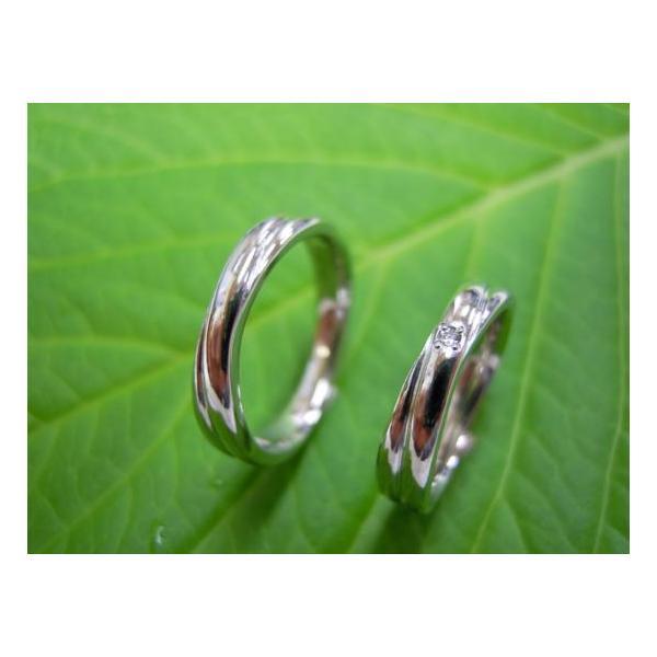 プラチナ結婚指輪(鍛造&彫金)光沢 二連&交差デザイン ダイヤ入り