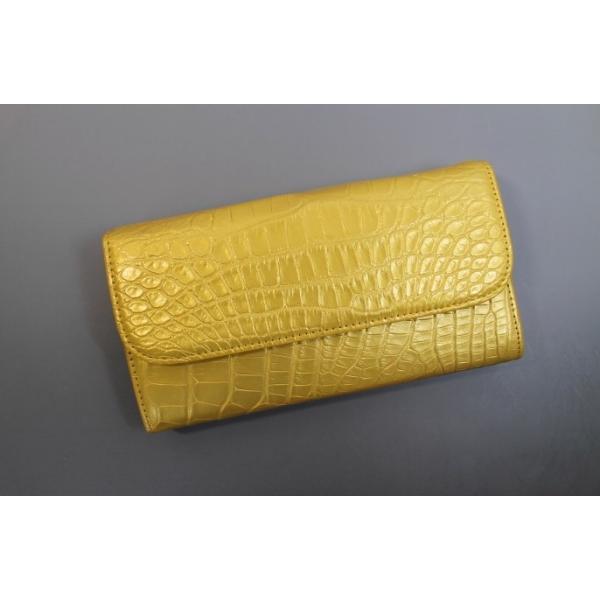 a7a43c02c3f0 クロコダイル 財布 メンズ レディース 長財布 かぶせ式 パール加工 ゴールド ヘンローン社製 ワニ本 ...