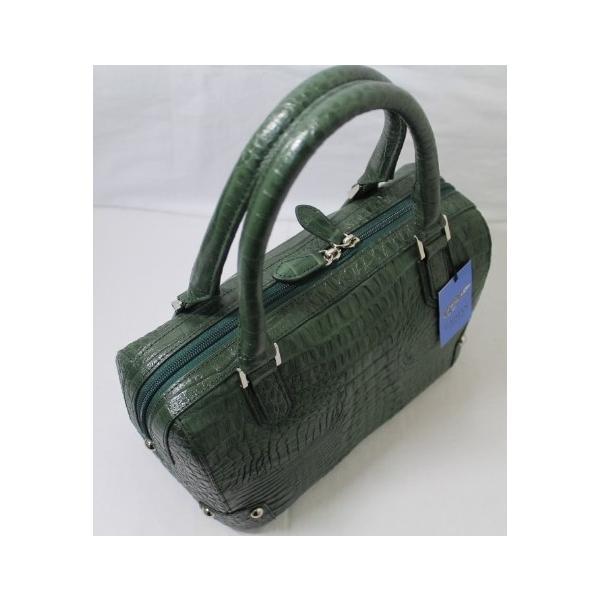 カイマン バッグ クロコダイル バッグ ワニ本革 ハンドバッグ 2way ミニボストン モスグリーン