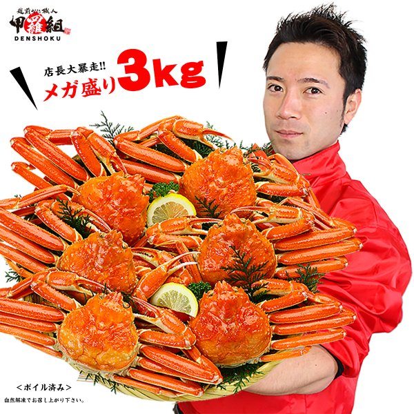 (かに カニ 蟹) 一級品カナダ産!ボイルずわいがに姿3kg 総重量3.1kg以上(6〜7ハイ入り/サイズ選択不可)※格安販売のためお一人様2個まで!|kouragumi