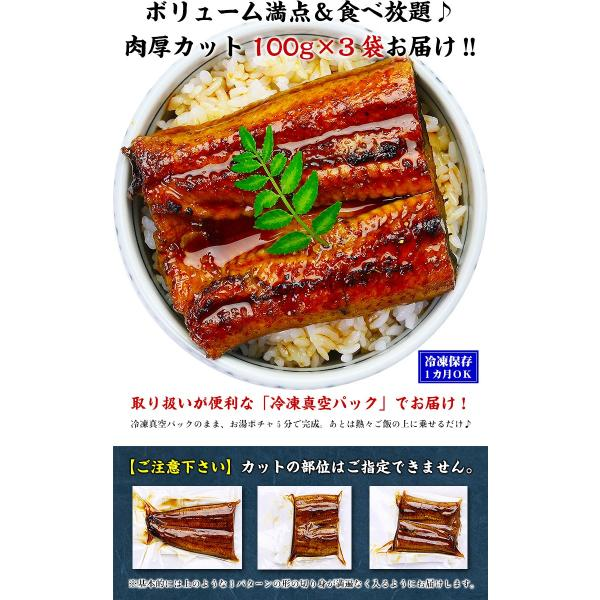 (うなぎ 鰻 ウナギ) 超特大 肉厚 カット うなぎ 蒲焼き 3食分 / 300g(100g×3枚入り) 国産うなぎの半値以下! まとめ買い割引クーポンあり|kouragumi|03