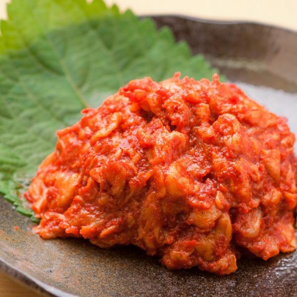 【冷凍】チャンジャ10点同時購入で送料無料 チャンジャ【60g】鱈(タラ)の胃を塩漬けにし、自家製薬念(ヤンニョン)を加えてキムチにしています