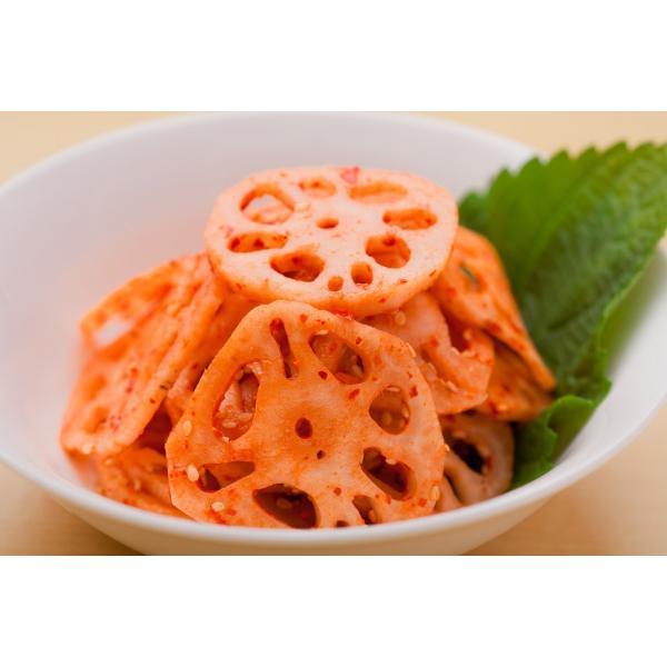 れんこんキムチ【100g】薄くスライスしたレンコン(蓮根)を薬念と甘酢でキムチにしあげました。レンコンのサクサク感をお楽しみ下さい。|kourai5920