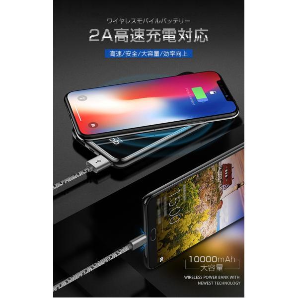 モバイルバッテリー Qi ワイヤレス充電器 10000mAh 薄型 大容量 軽量  LED 残量表示 iPhoneX iPhone X iPhone8 Galaxy S6 S7 S8 S8+ など対応|kouseisyouten|02
