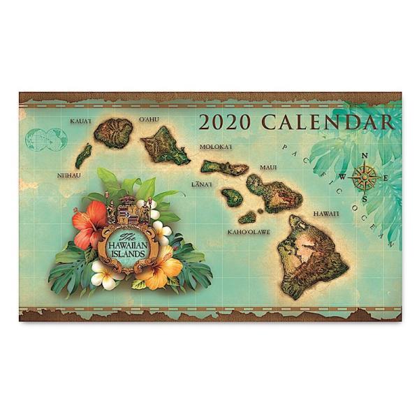 送料無料! 2020ハワイカレンダー(ミニサイズ)ハワイアンダイアリー/スケジュール帳 Islands of Hawaii-Green  アイランド・オブ・ハワイ グリーン|koyomi10