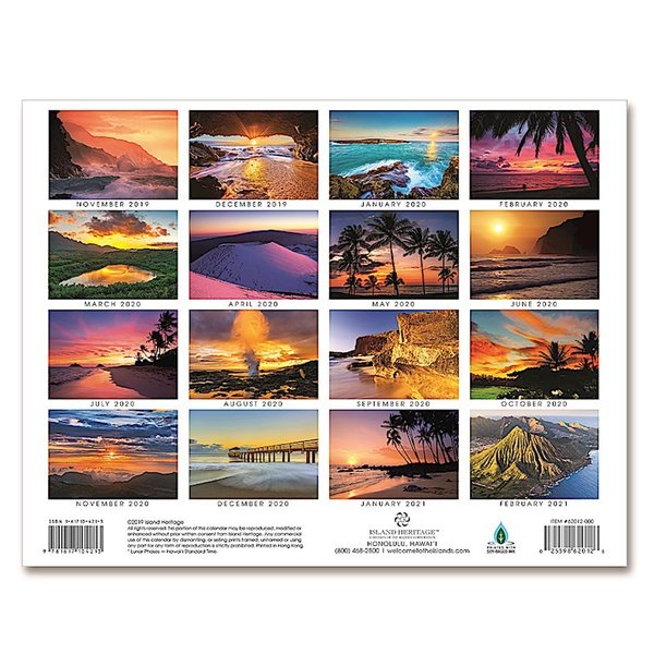 送料無料! 2020年 アイランドヘリテイジ社製 ハワイカレンダー (16カ月カレンダー) Sunsets of Hawaii  ハワイの夕日 2020 ハワイアン雑貨|koyomi10|02