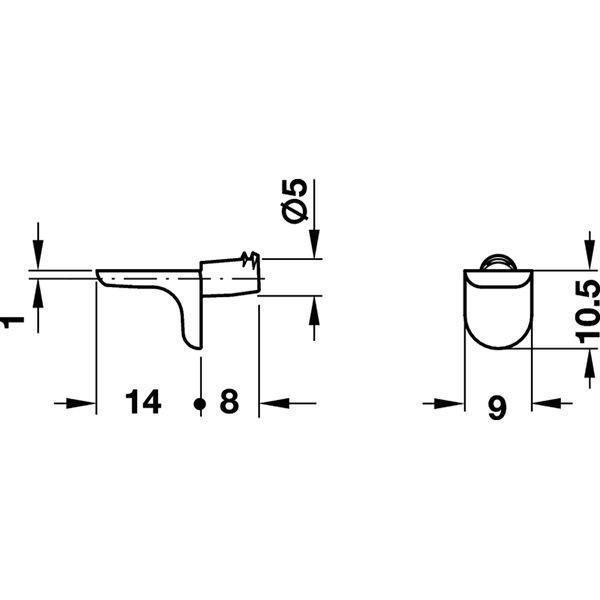 HAFELE 5mmφ差し込みタイプ棚ダボ 耐荷重125kg10個セット #282.24.310 |kqlfttools|02