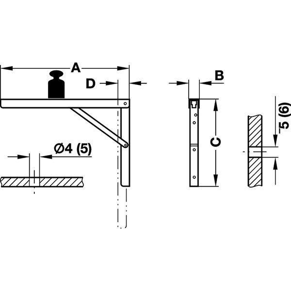 HAFELE 棚受け金具折りたたみブランケット 亜鉛メッキ400mm (#287.55.940) 1個|kqlfttools|02