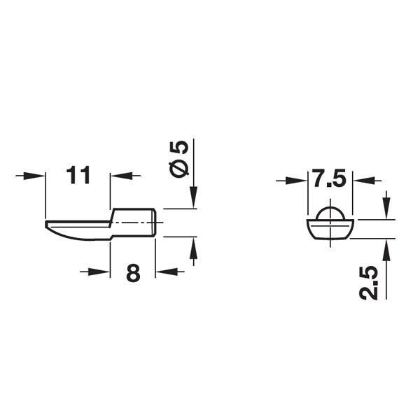 HAFELE スプーン型棚ダボ10個セット . 5mm ゴールド #282.04.515 kqlfttools 02
