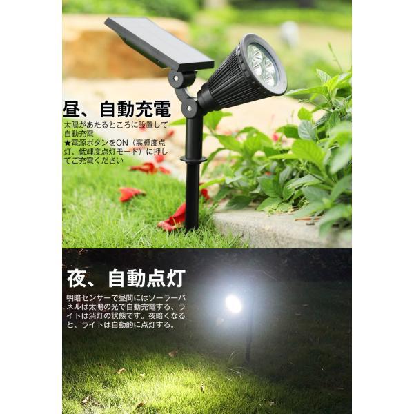 ソーラーライト 屋外 LEDスポットライト 夜間自動点灯 配線不要 電気代不要 間壁 玄関先 芝生 ガーデンライト アウトドアソーラーled照明 krisonstore 06