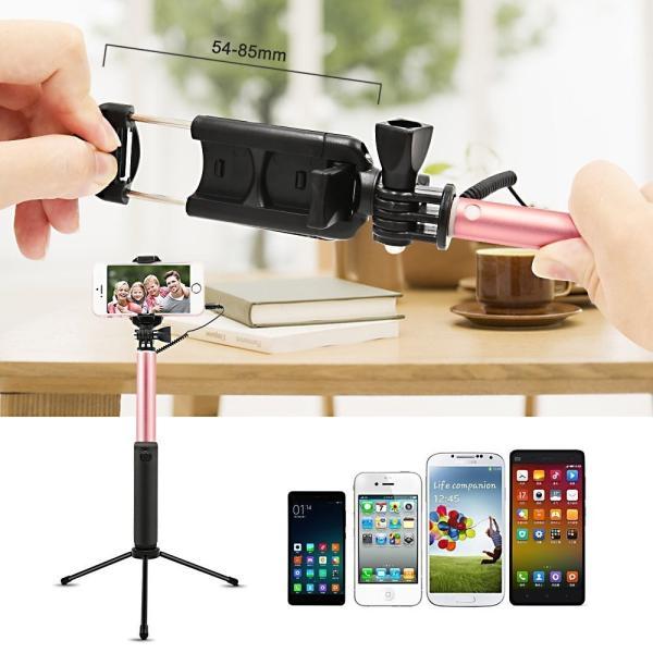 自撮り棒 セルカ棒 Bluetooth リモコン付き iphone Android対応 360°回転 写真撮影 krisonstore 03