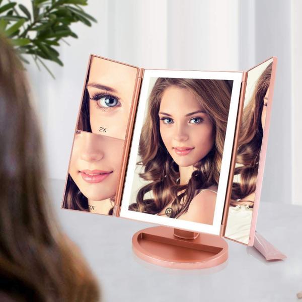 化粧鏡 LED 三面鏡 卓上 鏡 led 付き 女優ミラー 化粧ミラー 折りたたみ式 2 3 10倍拡大鏡付き 明るさ調節可能 180°回転可能 2WAY給電 電池付き プレゼント最適 krisonstore 07