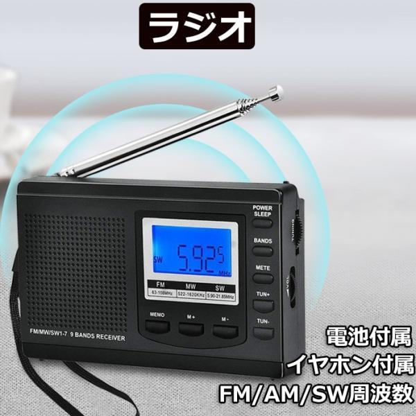 ラジオ 小型ポータブル FM/AM/SW ワイドFM対応 高感度受信クロックラジオ スピーカーとイヤホン付き タイマー機能 USB電池式 横置き型?