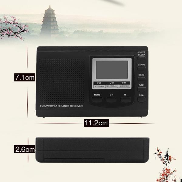 ラジオ 小型ポータブル FMAMSW ワイドFM対応 高感度受信クロックラジオ イヤホン付き タイマー機能 USB電池式 横置き型 日本語取扱説明書付き|krisonstore|14