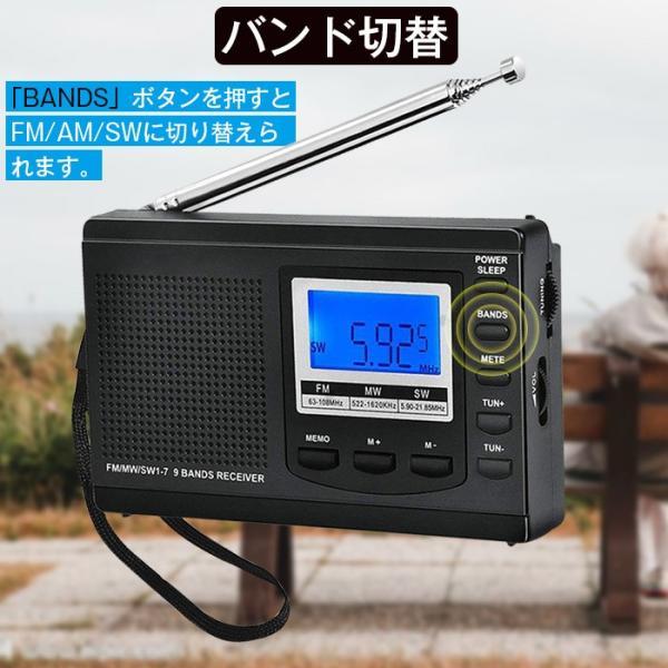 ラジオ 小型ポータブル FMAMSW ワイドFM対応 高感度受信クロックラジオ イヤホン付き タイマー機能 USB電池式 横置き型 日本語取扱説明書付き|krisonstore|08