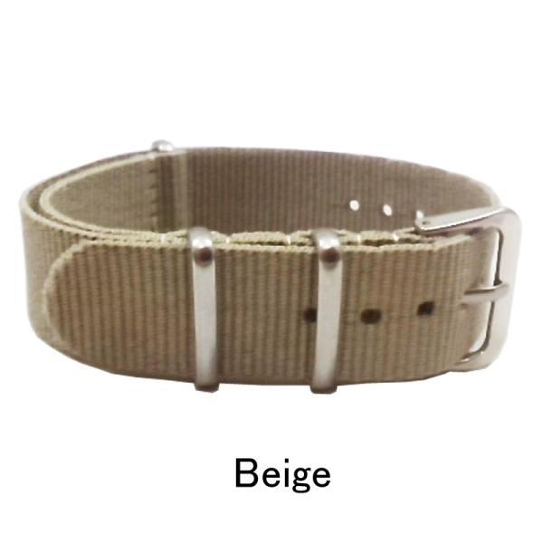 NATO ナイロン 時計ベルト 22mm幅 ベージュ(カーキ) 引き通し NATOベルト NATOストラップ NATOタイプ 一本通し 腕時計 布ベルト