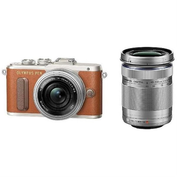 (アウトレット) オリンパス 小型一眼カメラ 2本レンズキット(電動ズーム+望遠) PEN(ペン) PEN E-PL8 EZダブルズームキット(ブラウン) ブラウン|ksdenki