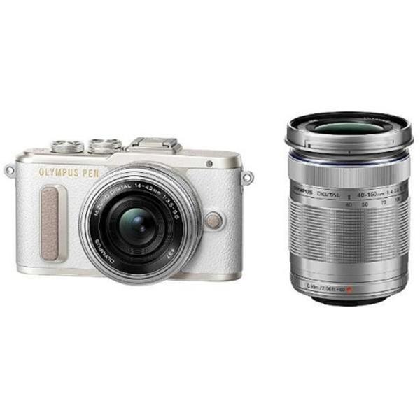 (アウトレット) オリンパス 小型一眼カメラ 2本レンズキット(電動ズーム+望遠) PEN(ペン) PEN E-PL8 EZダブルズームキット(ホワイト) ホワイト|ksdenki
