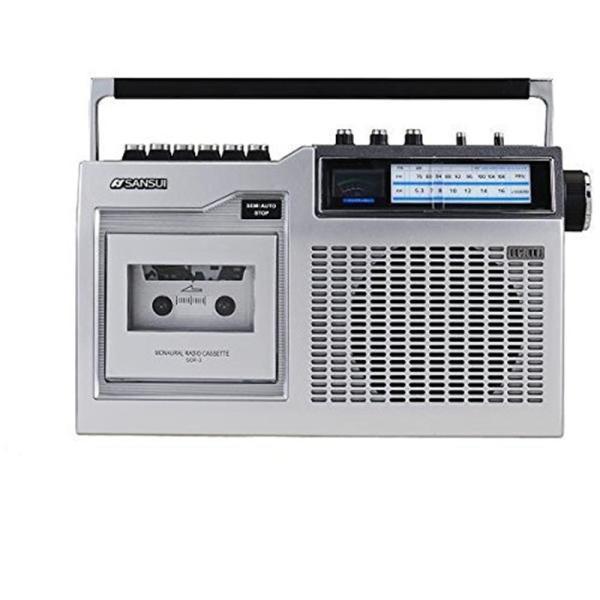 (アウトレット) SANSUI モノラルラジオカセット SCR-3(S)|ksdenki