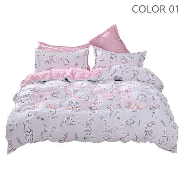 布団カバーセット 3点 4点 シングル セミダブル ダブル 寝具セット ボックスシーツ 枕カバー おしゃれ 北欧風 防ダニ 洗える 洋式和式兼用 柔らかい|ksmc-shop|02