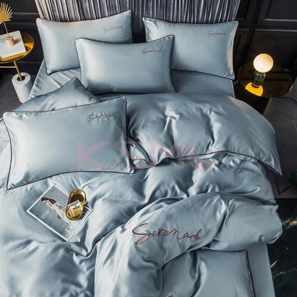 布団カバー セット ベッド 寝具セット 枕カバー おしゃれ 北欧風 柔らかい 可愛い 接触冷感 春夏 模造シルク 防臭 防ダニ 洗える 4点セット セミダブル 高密度 ksmc-shop 14