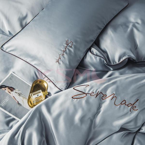 布団カバー セット ベッド 寝具セット 枕カバー おしゃれ 北欧風 柔らかい 可愛い 接触冷感 春夏 模造シルク 防臭 防ダニ 洗える 4点セット セミダブル 高密度 ksmc-shop 15