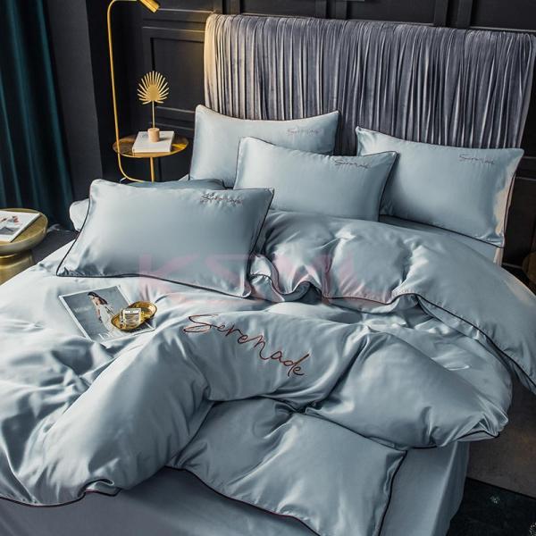 布団カバー セット ベッド 寝具セット 枕カバー おしゃれ 北欧風 柔らかい 可愛い 接触冷感 春夏 模造シルク 防臭 防ダニ 洗える 4点セット セミダブル 高密度 ksmc-shop 16