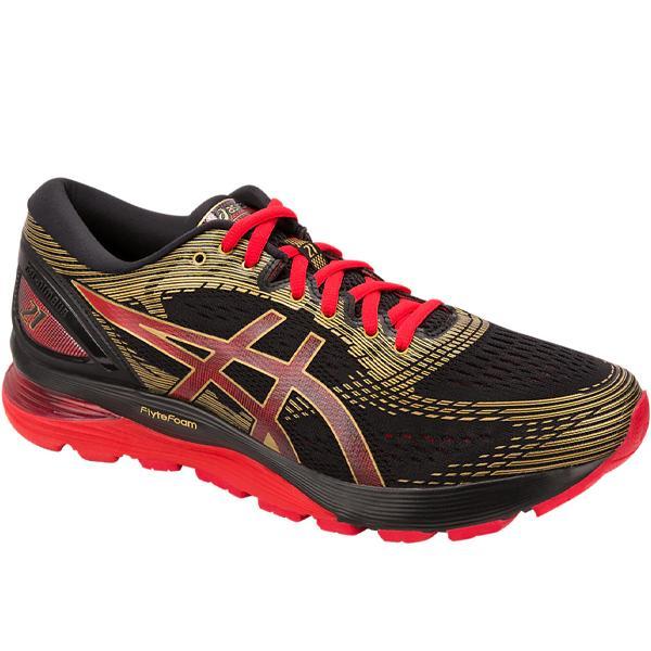 アシックス ゲル ニンバス 21 GEL-NIMBUS 21 1011A257-001 26,5cm メンズ ランニングシューズ マラソン ジョギング 黒 赤  asics