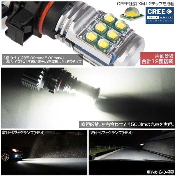 PSX24W LED フォグランプ 30W CREE 4500LM 6500K 純白光 2個 12V 24V フォグバルブ ホワイト フォグライト _27199|ksplanning|03