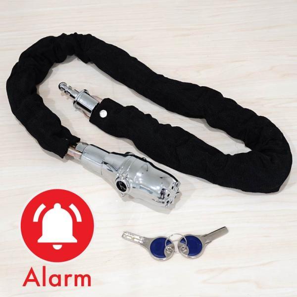 バイク ロック チェーン 鍵 アラーム 90cm 極太 8mm 盗難防止 いたずら防止 チェーンロック バイクロック ワイヤーロック 自転車  _45431