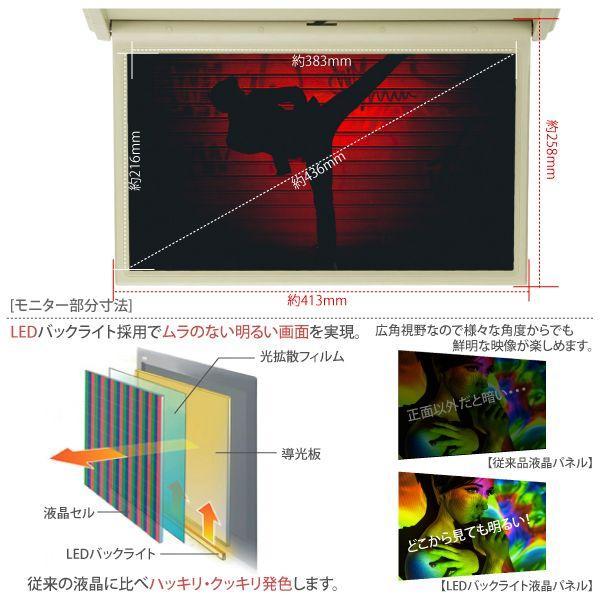 フリップダウンモニター/17.3インチ/HDMI/LED/米/ベージュ/12V/24V/_43113(6210)|ksplanning|03