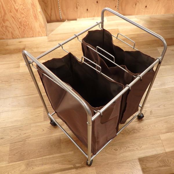 ランドリーバスケット 2段 横分別 キャスター付き 洗濯カゴ 2色 ランドリー収納 ランドリーワゴン ランドリーボックス @83410|ksplanning|09