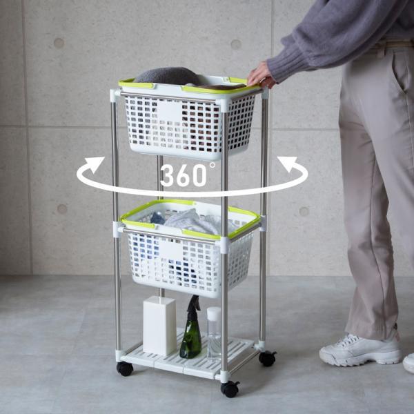 ランドリーバスケット スリム 2段 キャスター付き 洗濯かご 大容量 分別 ランドリーラック ランドリーワゴン メッシュ _83427|ksplanning|05