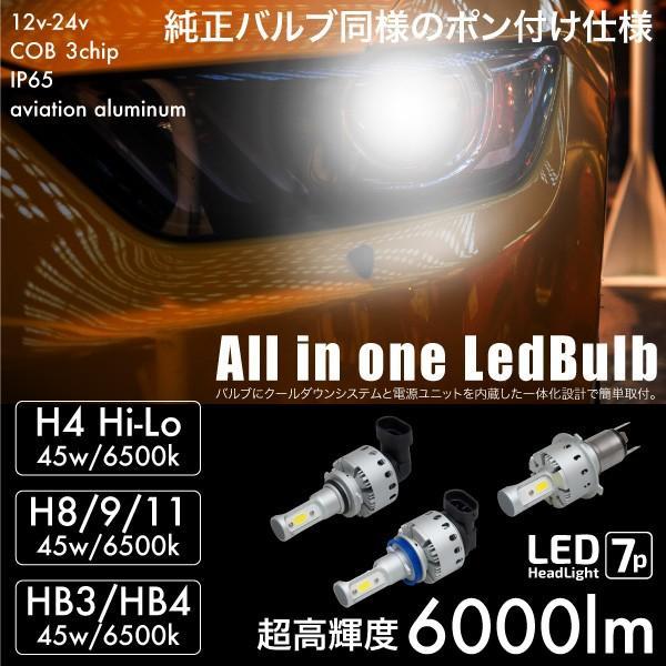 LEDバルブ COB 爆光 45W 6500K 6000lm H4 Hi/Lo H8 H9 H11 HB3 HB4 一体型 12V 24V 簡単取付け ヘッドライト フォグランプ ファンレス _@a940 ksplanning