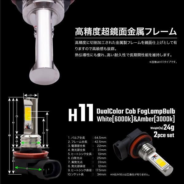 フォグランプ COB LED バルブ 40W H11 HB4 H3 2色切り替え ホワイト イエロー フラッシング機能付き 3000K 6000K 無極性 純正形状 白 黄色 _@b003|ksplanning|05