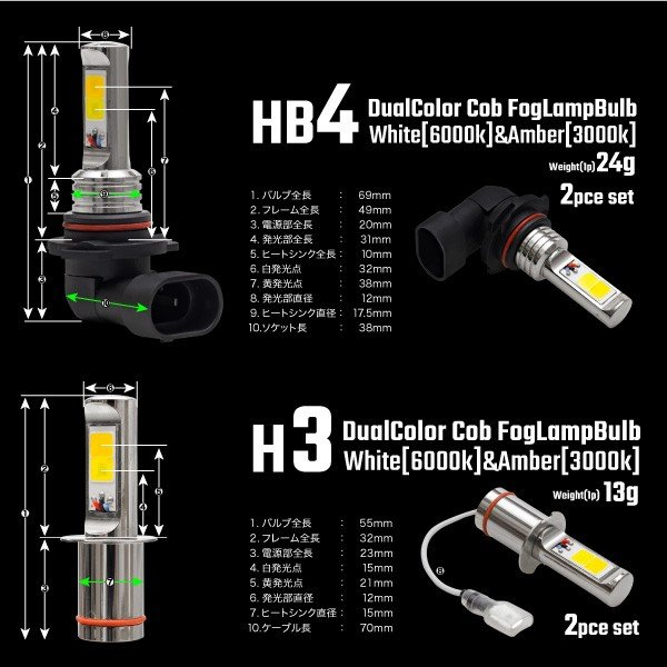 フォグランプ COB LED バルブ 40W H11 HB4 H3 2色切り替え ホワイト イエロー フラッシング機能付き 3000K 6000K 無極性 純正形状 白 黄色 _@b003|ksplanning|06