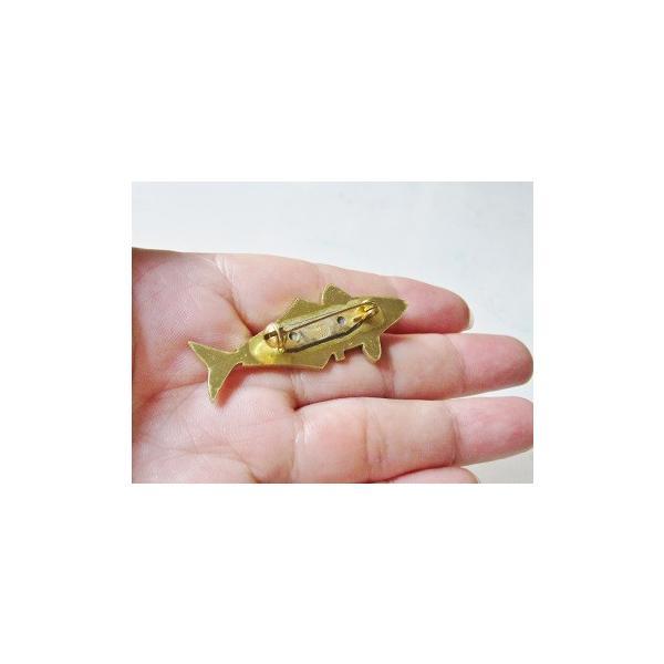アジ(魚)の可愛い真鍮ブローチ