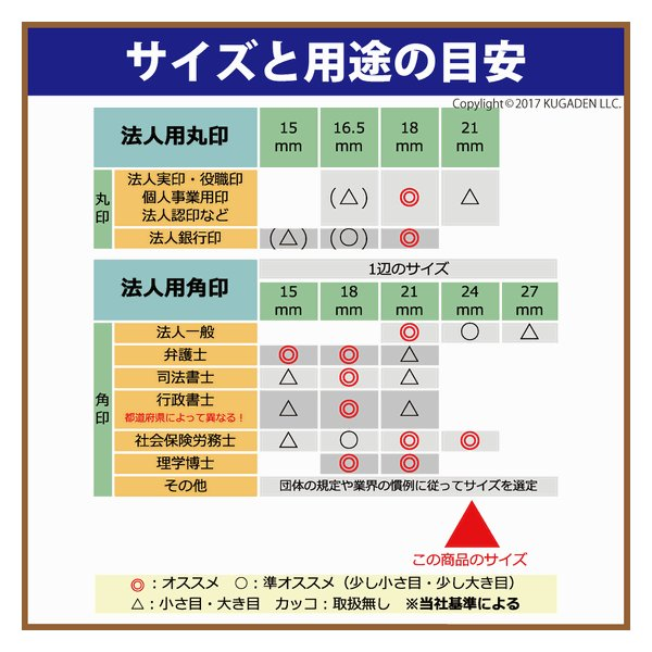 法人角印 アカネ(輸入材) 24mm <会社名(名称)25文字迄>|kugain|02