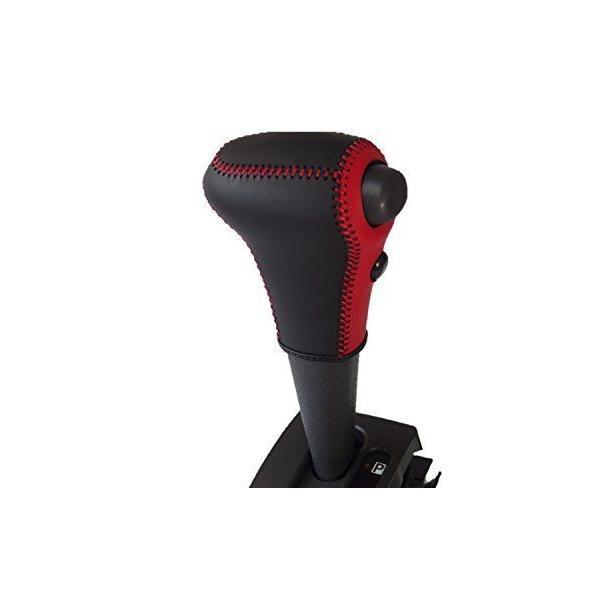 トリコローレEX S500系 ハイゼットトラック他 赤黒革×赤ステッチ 3D-14 DIYシフトノブ本革巻替キット 1BK3D14R1B1R