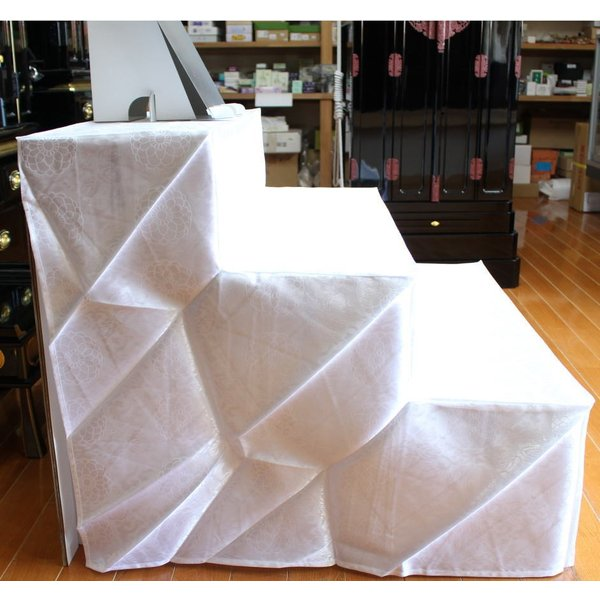後飾り棚 祭壇 お盆飾棚 段ボール製 白布付 三段|kumano-butu|02