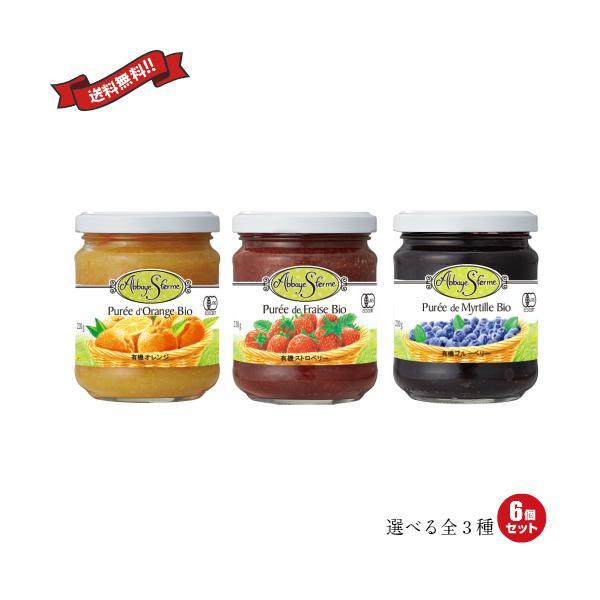 ジャム 瓶 砂糖不使用 砂糖不使用 アビィ サンフェルム 有機フルーツプレッド 220g 全3種(ブルーベリー・ストロベリー・オレンジ)6個セット 送料無料