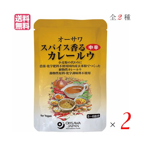 カレー カレー粉 カレールー オーサワ スパイス香るカレールウ 120g 全2種 選べる2袋セット 送料無料