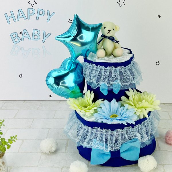 おむつケーキ オムツケーキ 男の子 出産祝い 靴下 ぬいぐるみ くま 2段 ベビーシャワー おしゃれ 人気