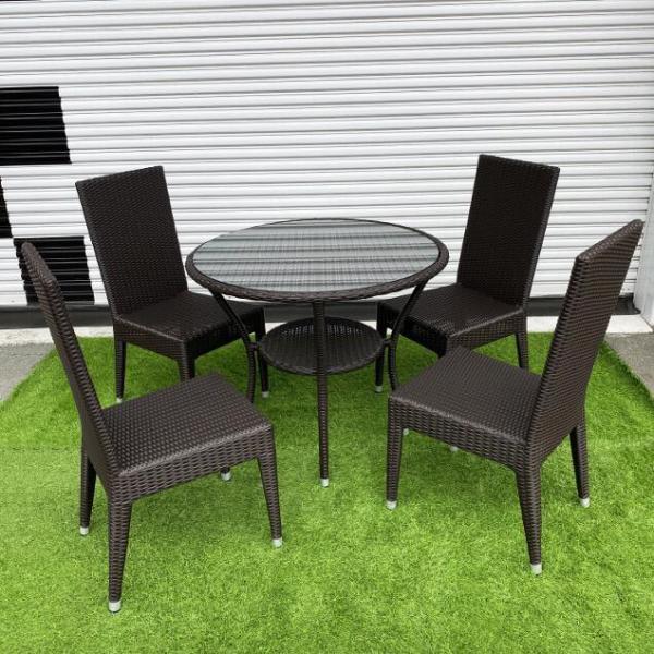 アジアン家具 シンセティックラタン テーブルセット 4人掛け ダークブラウン テラスセット アルミ骨組み モダン シンプル