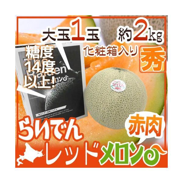 """メロン 北海道 赤肉メロン """"らいでんレッドメロン"""" 1玉 約2kg 化粧箱【予約 7月以降】 送料無料"""
