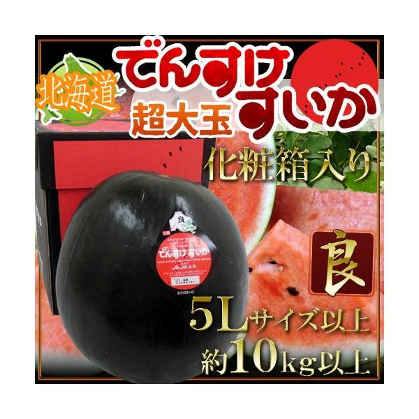 """北海道当麻町 """"でんすけスイカ"""" 良品 5Lサイズ以上 約10kg以上 化粧箱 ちょっと訳あり【予約 8月初旬以降】 送料無料"""