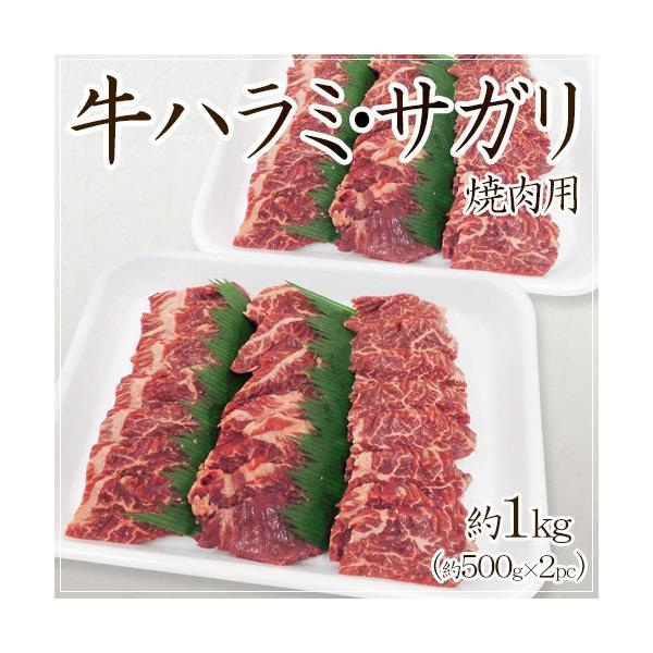 """""""牛ハラミ・サガリ 焼肉用"""" 約1kg (約500g×2pc) 送料無料"""