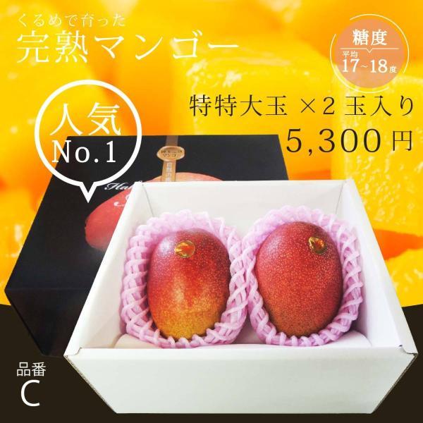 【品番C】特特大玉×2玉入り くるめで育った完熟マンゴー|kurashige-nouen